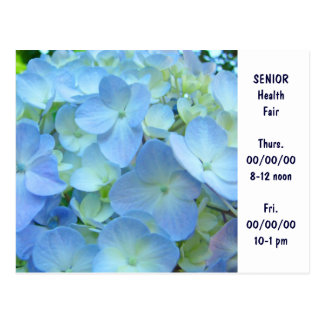 SENIOR Health Fair Invitation Cards custom Blue Postcard
