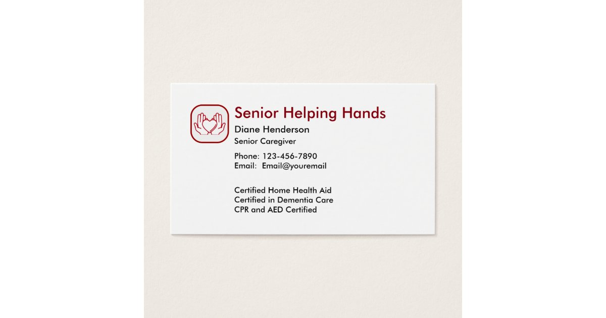 Senior Home Care Business Card | Zazzle.co.uk