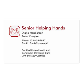 Senior Home Care Pack Of Standard Business Cards