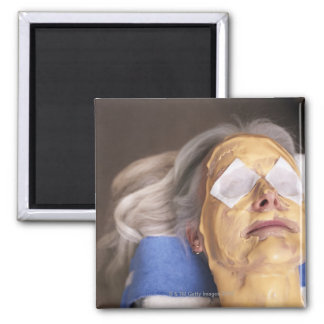 Senior woman having spa treament square magnet