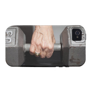 Senior woman lifting weights Case-Mate iPhone 4 cases