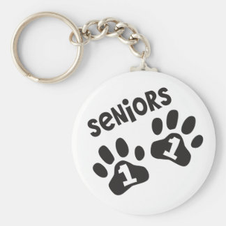 Seniors '11 Paw Prints Basic Round Button Key Ring