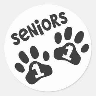 Seniors '11 Paw Prints Round Sticker