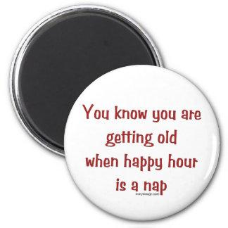 Senior's Happy Hour 6 Cm Round Magnet