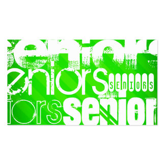 Seniors; Neon Green Stripes Pack Of Standard Business Cards
