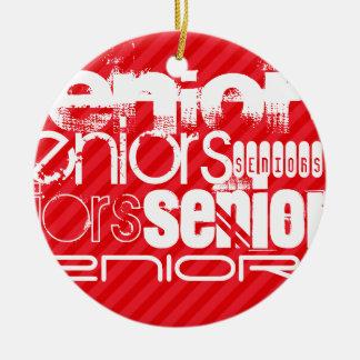 Seniors; Scarlet Red Stripes Christmas Ornament
