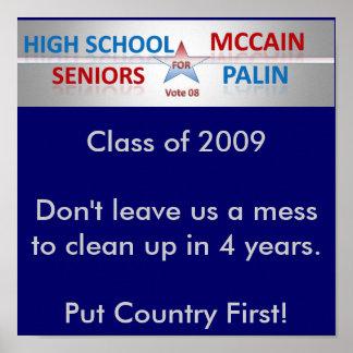 Seniors Vote McCain and Palin Poster