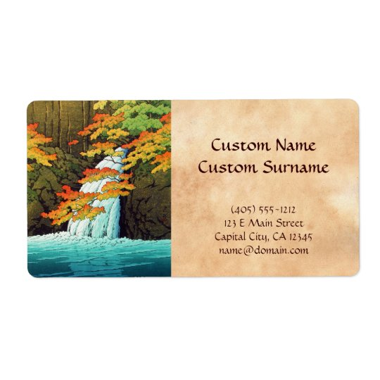 Senju Waterfall, Akame Hasui Kawase shin hanga art Shipping Label