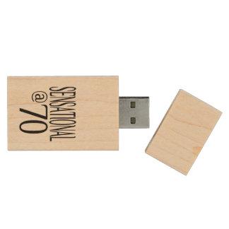 Sensational at Seventy Wood USB 2.0 Flash Drive