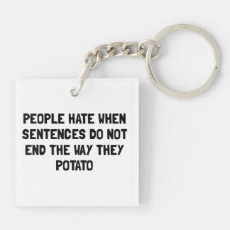 Sentences Potato Double-Sided Square Acrylic Key Ring