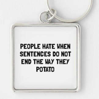 Sentences Potato Silver-Colored Square Key Ring