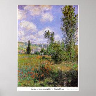 Sentier ile Saint-Martin 1880 by Claude Monet Poster