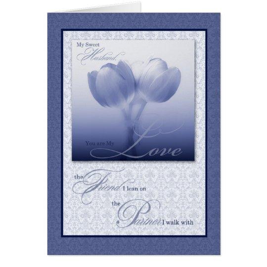 Sentimental Husband Wedding Anniversary Blue Tulip Card