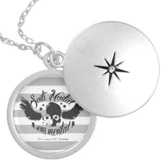 Sentimental, semi mental skull graphic art. round locket necklace