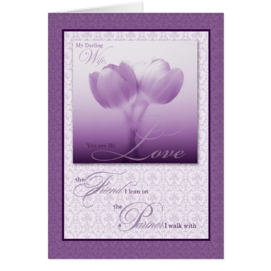 Sentimental Wife's Birthday Purple Tulips Card