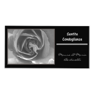 Sentite condoglianze italiano black white rose photo cards