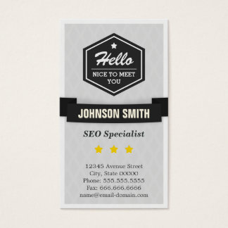 SEO Specialist - Say Hello in Retro Style Business Card