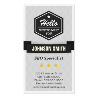 SEO Specialist - Say Hello in Retro Style Pack Of Standard Business Cards