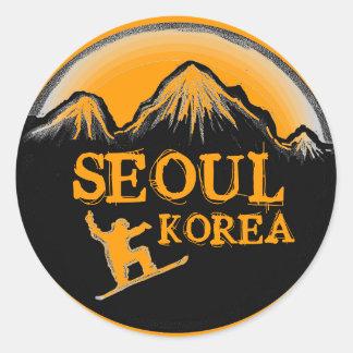 Seoul Korea orange snowboard stickers