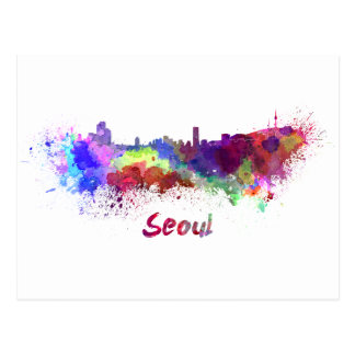 Seoul skyline in watercolor postcard