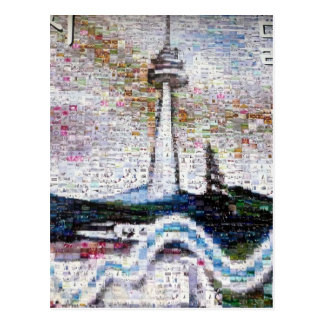 seoul tower river postcard