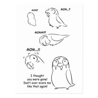 Separation anxiety on pet birds postcard
