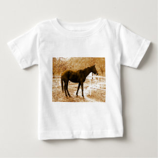 Sephia Pop Art Horse Baby T-Shirt