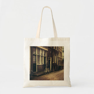 Sepia Amsterdam Street Photography, Bicycle Budget Tote Bag
