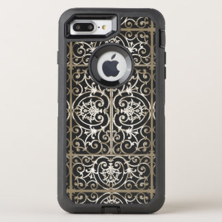 Sepia and black scrollwork pattern OtterBox defender iPhone 7 plus case