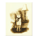 Sepia Art: Little Girl With Face To Wall: Pencil Gallery Wrap Canvas