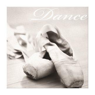 Sepia Ballet Slipper Pointe Shoes Dance Template Canvas Print