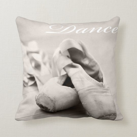Sepia Ballet Slipper Pointe Shoes Dance Template Cushion