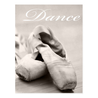 Sepia Ballet Slipper Pointe Shoes Dance Template Postcard