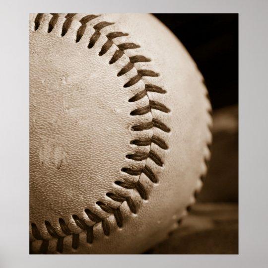 Sepia Baseball Poster
