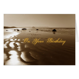 Sepia Beach Birthday Greeting Card