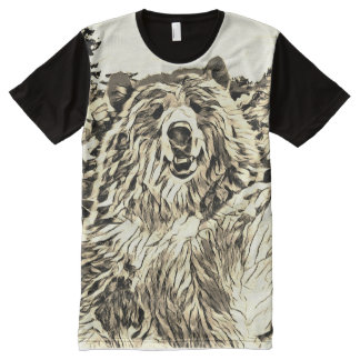 Sepia Bear Graphic Tee by Aleta All-Over Print T-Shirt