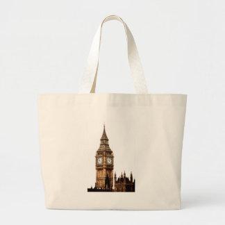Sepia Big Ben Tower Large Tote Bag