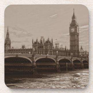 Sepia Big Ben Tower Palace of Westminster Drink Coasters