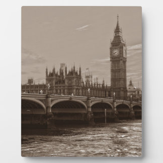 Sepia Big Ben Tower Palace of Westminster Plaques