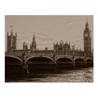 Sepia Big Ben Tower Palace of Westminster Postcard