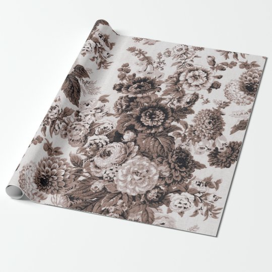 Sepia Brown Black White Vintage Floral Toile No.3