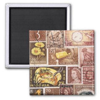 Sepia Brown Gold Fridge Magnet, Eclectic Boho Art Square Magnet