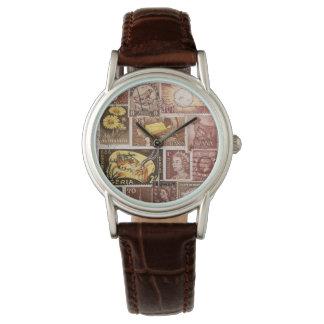 Sepia Brown Gold Wristwatch, Postage Stamp Art Wrist Watch