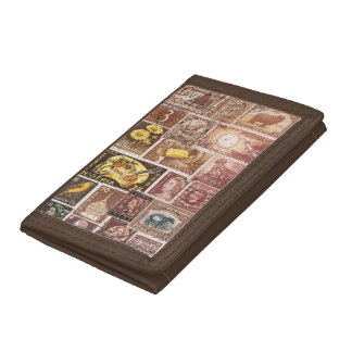 Sepia Brown Gold Yellow Wallet, Postage Stamp Art Tri-fold Wallet