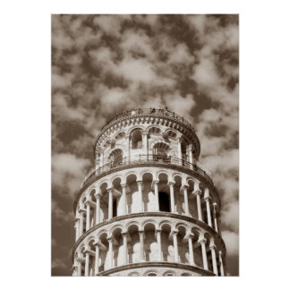 Sepia Brown Leaning Tower of Pisa Italy Poster