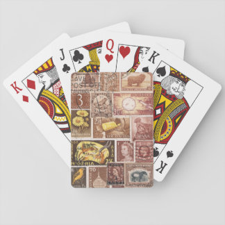 Sepia Brown Playing Cards, Vintage Postage Stamps Playing Cards