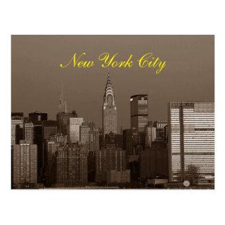 Sepia Brown Script New York City Skyline Postcard