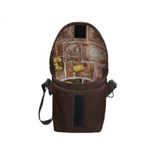 Sepia Brown Small Travel Bag, Postage Stamp Art Commuter Bags