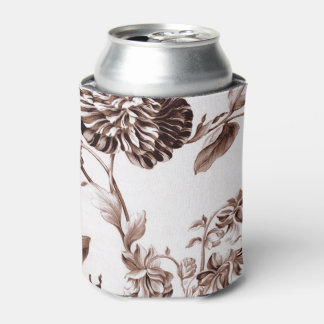 Sepia Brown Vintage Botanical Floral Toile Can Cooler