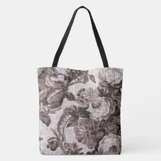 Sepia Brown Vintage Botanical Floral Toile Fabric Tote Bag